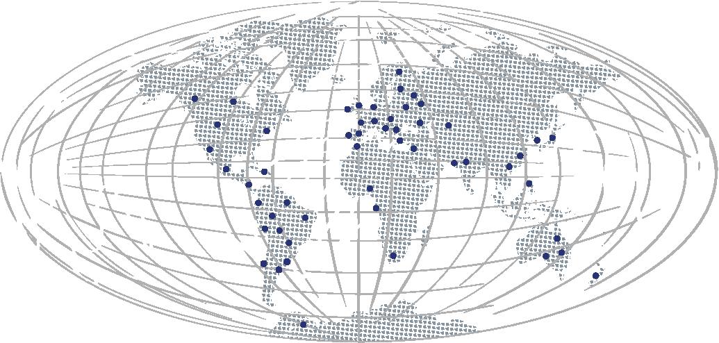 Mapa del mundo con las sedes de Nordés
