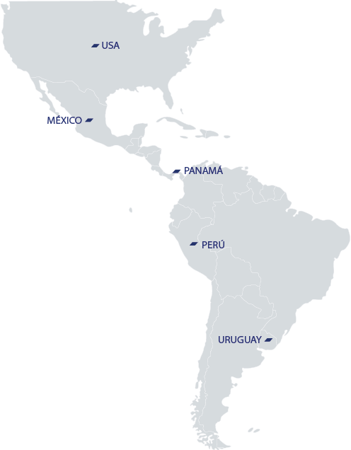 Mapa de América con las sedes de Nordés